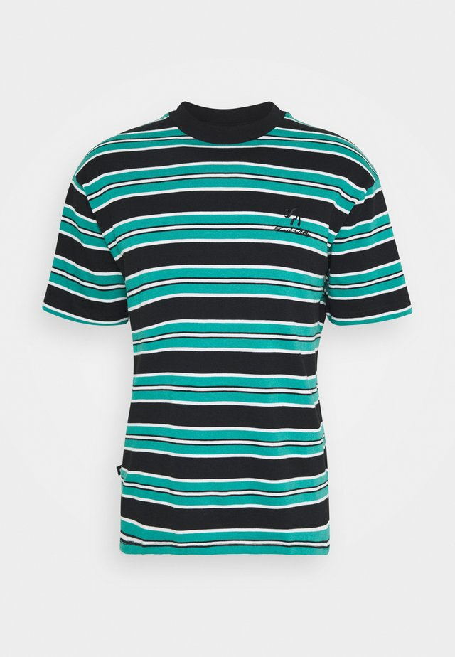 UNISEX LOOSE STRIPED TEE - Print T-shirt - black/pool blue/white