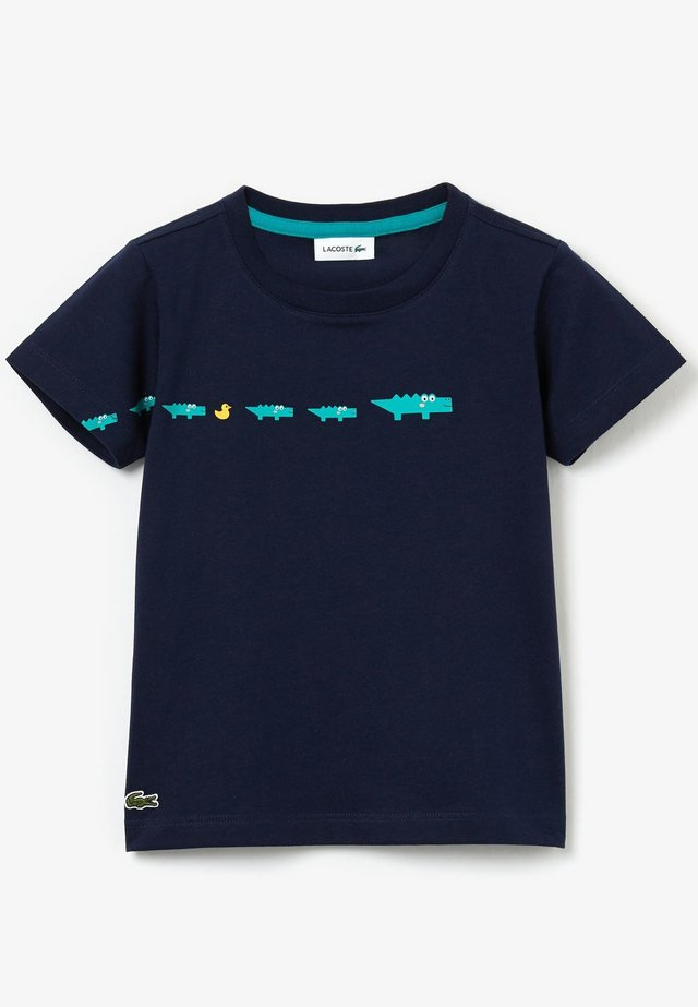 TJ4769-00-502 - Print T-shirt - bleu marine / vert