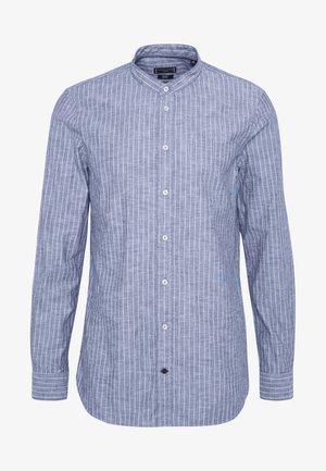 STRIPE BAND COLLAR SLIM SHIRT - Shirt - blue