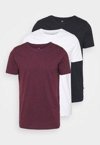JERMANE 3 PACK - Basic T-shirt - white/dark navy/wine