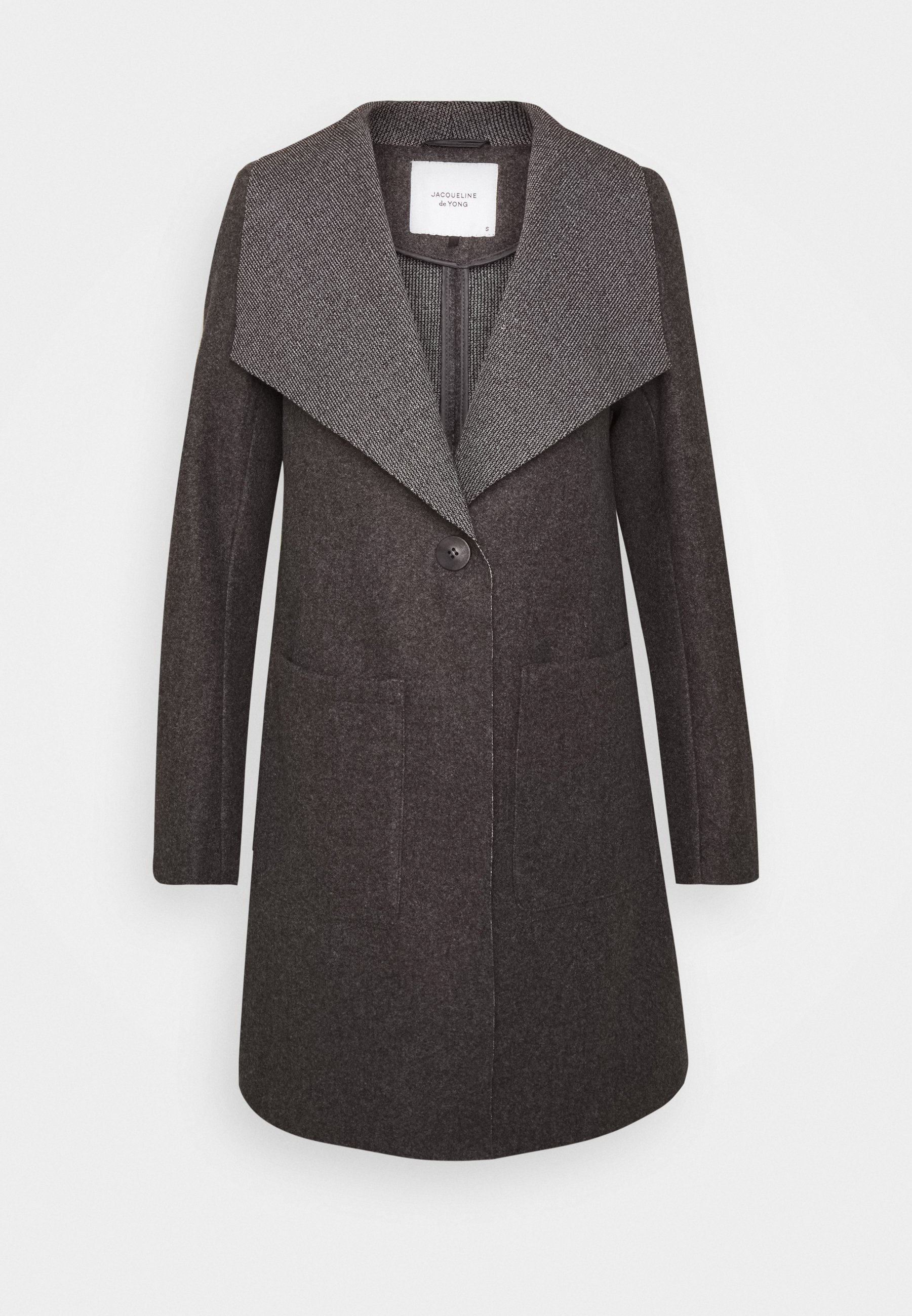 JDYSANNA DRAPY CARCOAT Halflange jas dark grey melange