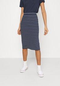 Tommy Jeans - LONG BODYCON STRIPES SKIRT - Pencil skirt - twilight navy - 0