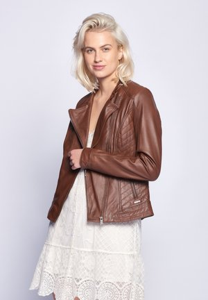 SALLY - Leather jacket - brown