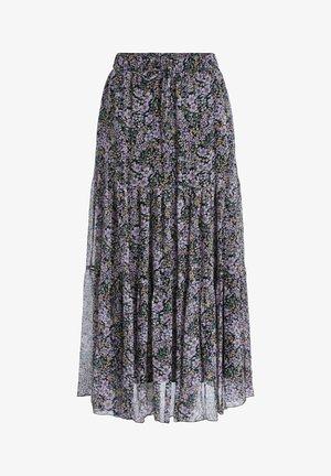 MIT BLUMENPRINT - A-line skirt - black violett