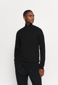 Selected Homme - SLHBERG HALF ZIP  - Stickad tröja - black - 0