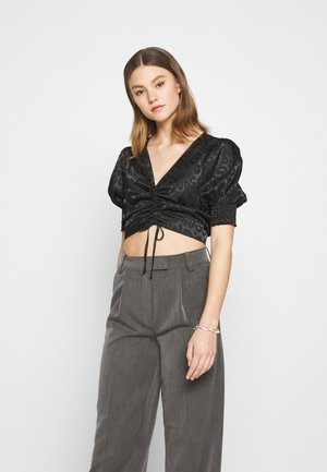 ANIMAL RUCHED BLOUSE - Blouse - black