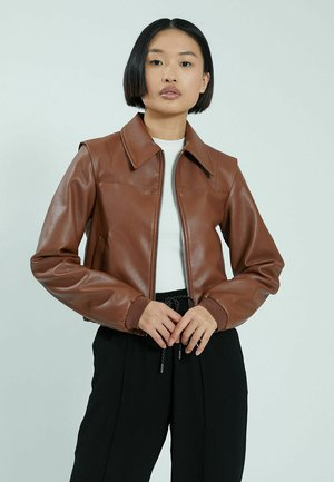 Faux leather jacket - rostrot