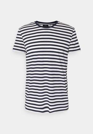 TENCEL STRIPES - Print T-shirt - navy/white