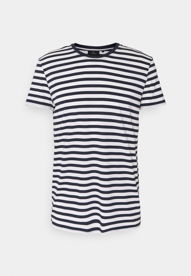 TENCEL STRIPES - Triko s potiskem - navy/white