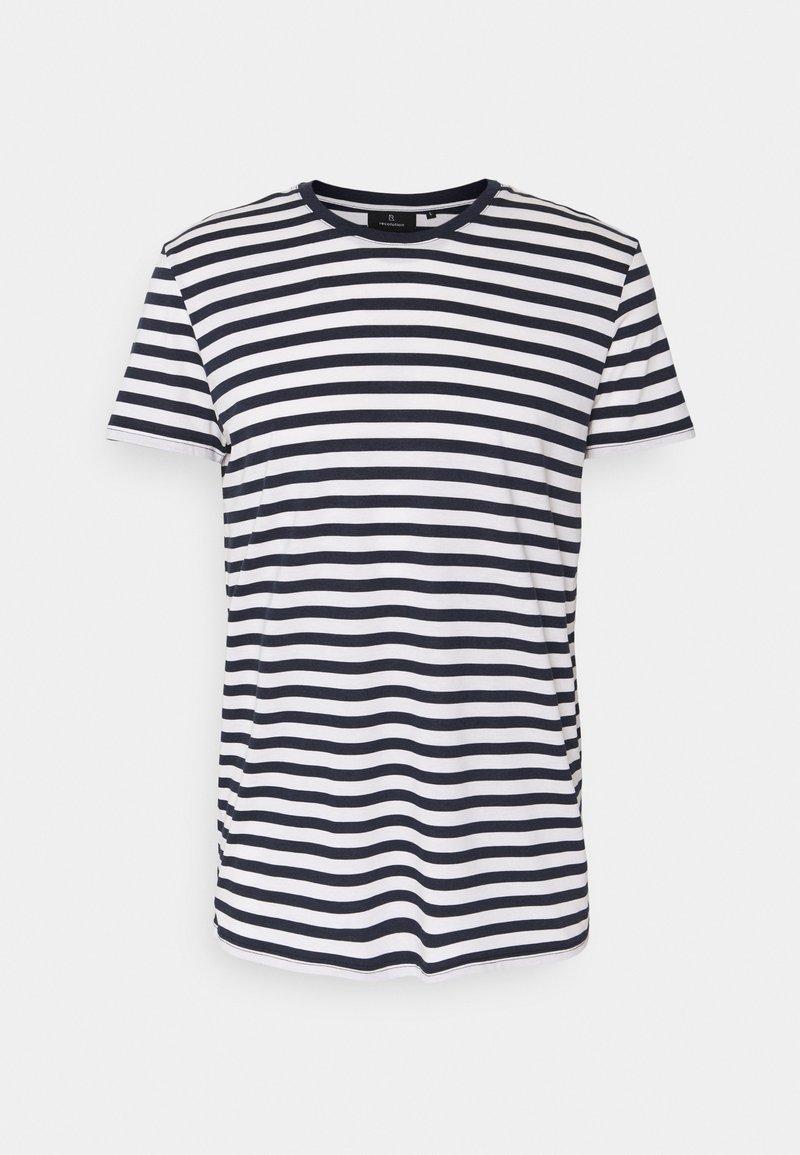 recolution - TENCEL STRIPES - Print T-shirt - navy/white