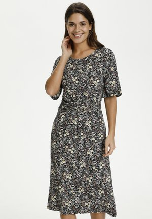 Jersey dress - black w.daisy flowers
