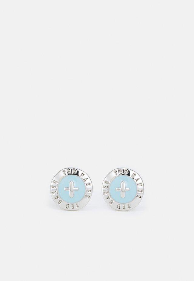 EISLEY MINI BUTTON EARRING - Orecchini - silver-coloured/aquamarine