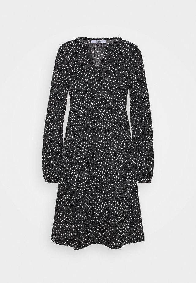 ONLZILLE V FRILLNECK DRESS - Day dress - black/white
