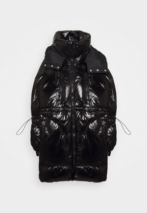 LONG PUFFER WITH HOOD - Winter coat - black