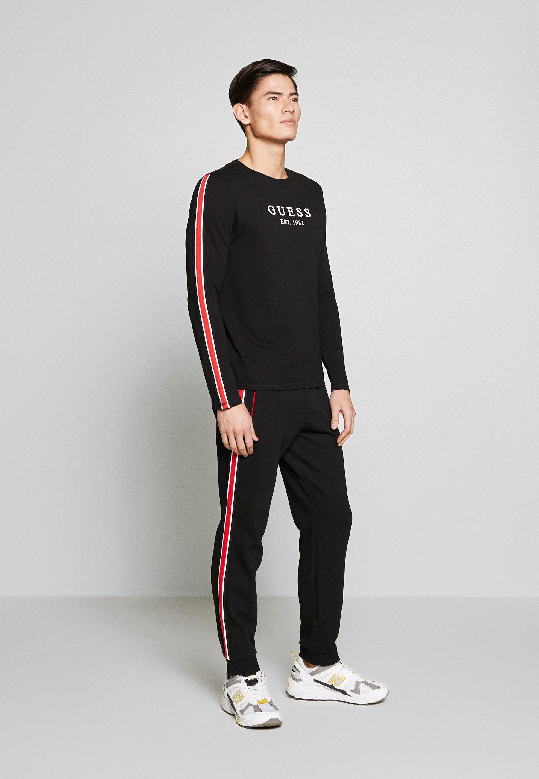 Guess BAND TEE - T-shirt à manches longues - jet black