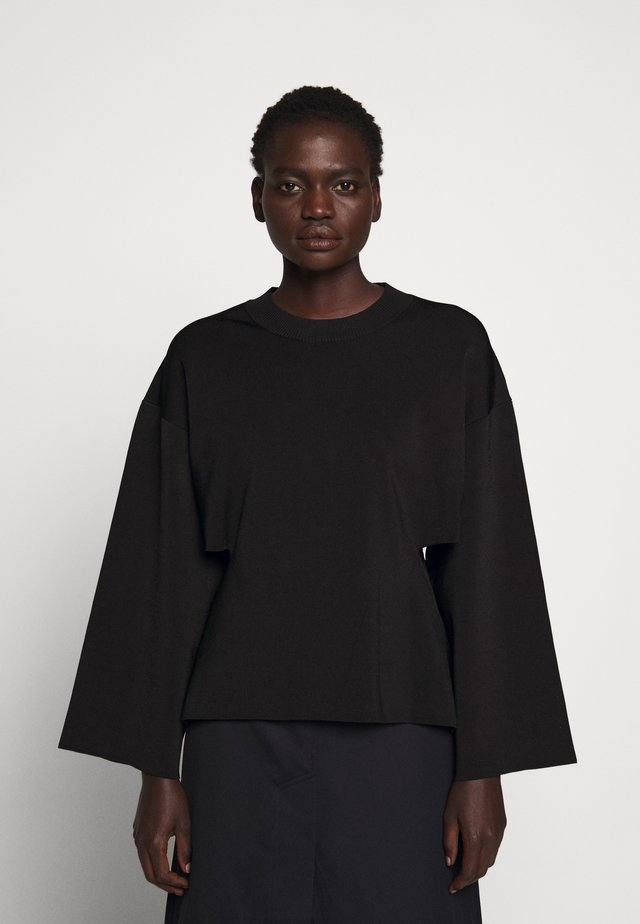 CREW NECK SIDE CUTOUT - Pullover - black