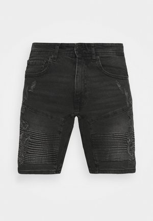 AGED MOTO RIPS - Shorts di jeans - aged black