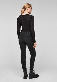 Q/S designed by - Long sleeved top - black melange - 2