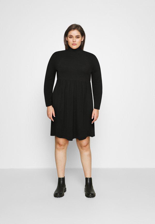 SOFT TOUCH HIGHNECK SMOCK DRESS - Žerzejové šaty - black