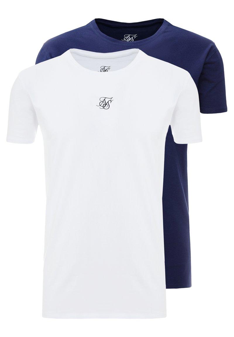 SIKSILK - 2 PACK - Basic T-shirt - white & navy