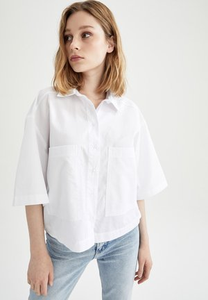 CROPPED FIT  - Button-down blouse - white