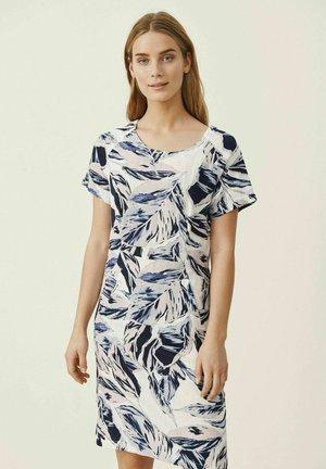Korte jurk - blue palm print