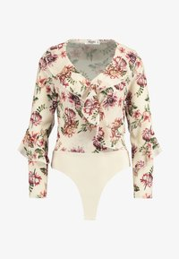 Missguided Petite - WRAP FRONT FRILL BODYSUIT - Bluser - cream - 3
