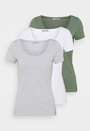 3 PACK - Jednoduché triko - white/mottled light grey/light green