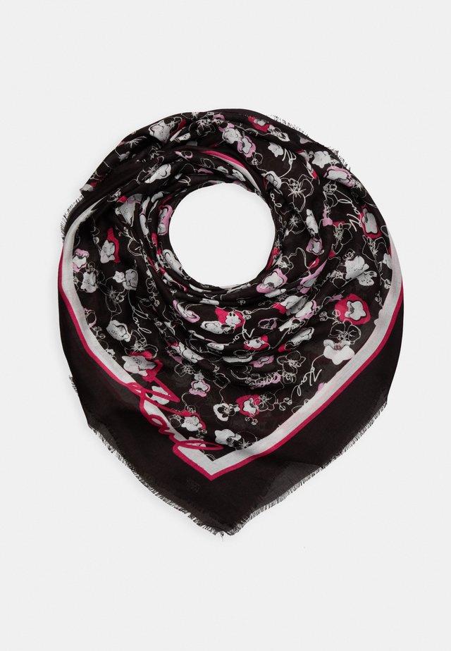 ALL OVER ORCHID SQUARE SCARF - Šátek - black