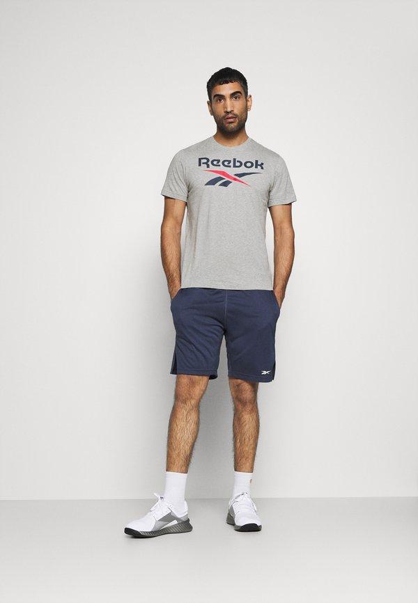 Reebok BIG LOGO TEE - T-shirt z nadrukiem - medium grey heather/vector navy/szary Odzież Męska BMSA