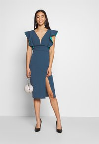 WAL G. - V NECK RUFFLE SLEEVE MIDI DRESS - Sukienka koktajlowa - teal