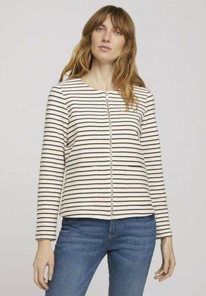 WITH STRUCTURED - Cardigan - offwhite ottoman stripe
