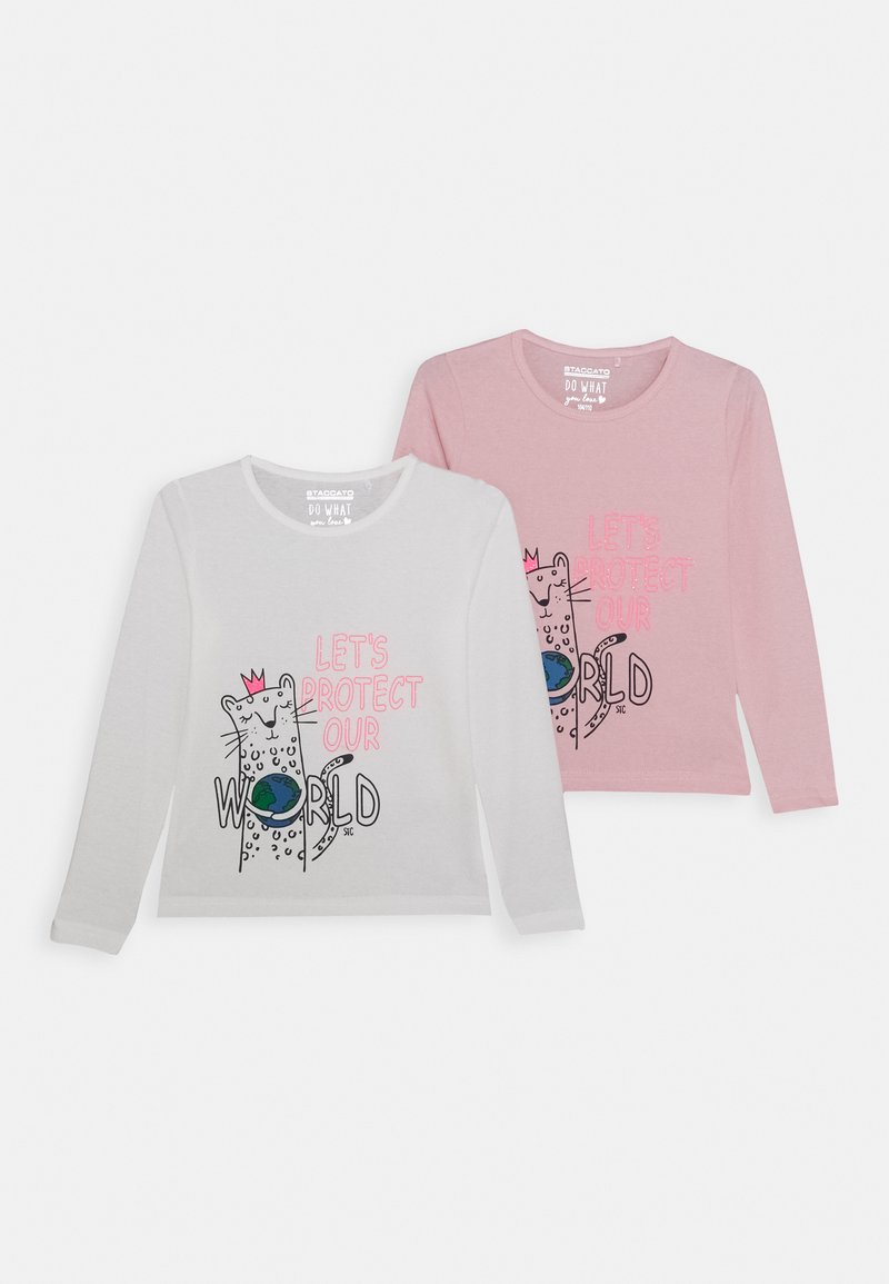 Staccato - GIRLS LONGSLEEVE KID 2 PACK - Top s dlouhým rukávem - white/light pink