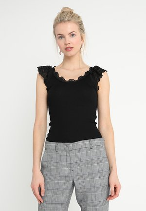 SILK-MIX TOP REGULAR W/WIDE LACE - Top - black