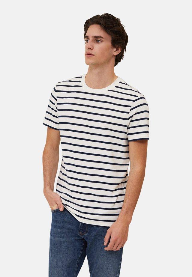 RICKY - T-shirt con stampa - white/blue stripe