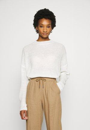 WOOL BLEND GATHERED JUMPER - Jumper - ecru