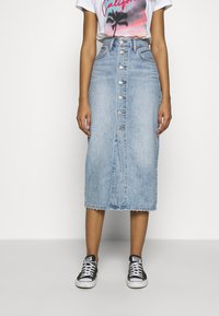 Levi's® - BUTTON FRONT MIDI SKIRT - Pencil skirt - blue cell - 0