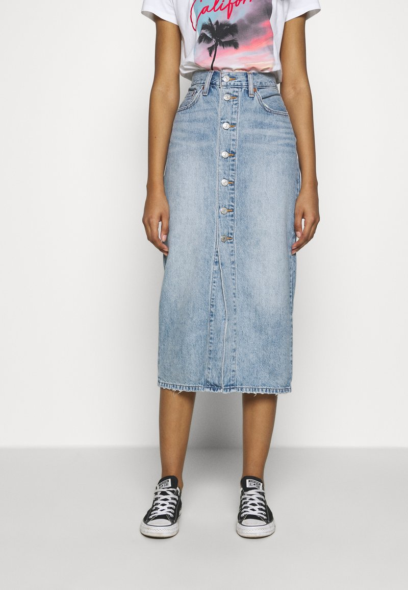 Levi's® - BUTTON FRONT MIDI SKIRT - Pencil skirt - blue cell
