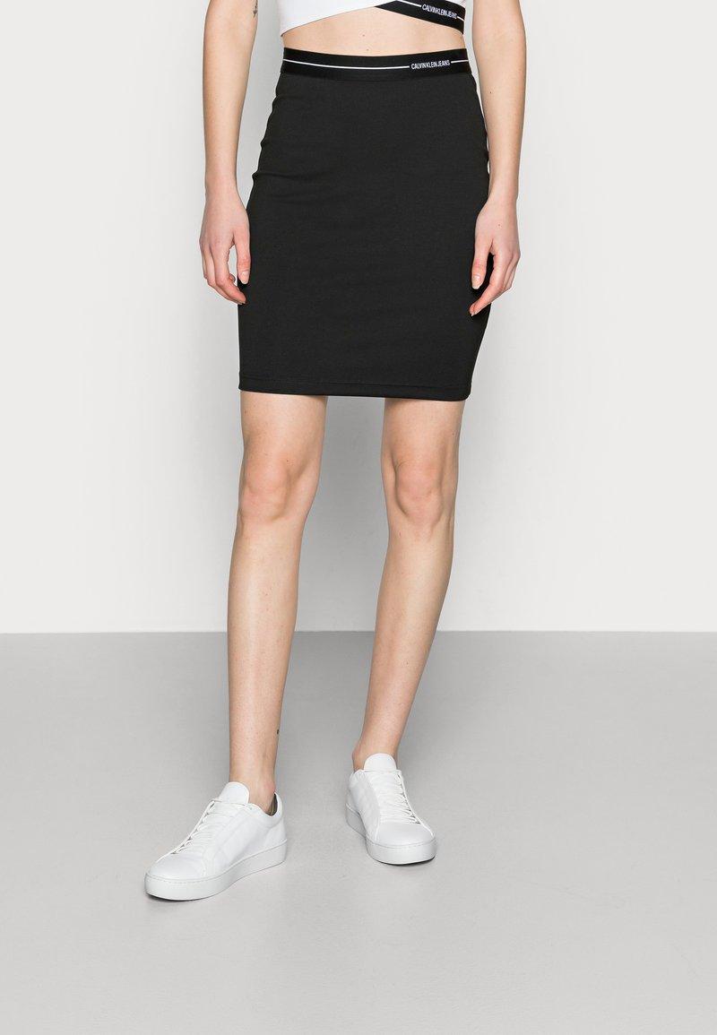 Calvin Klein Jeans - MILANO LOGO ELASTIC SKIRT - Mini skirt - black