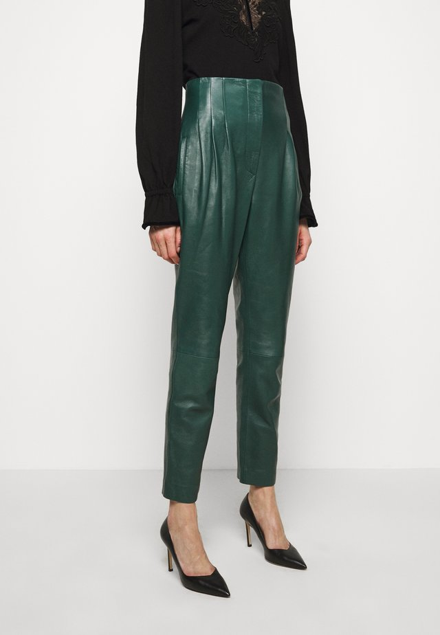 LEATHERPIECES TROUSERS - Leather trousers - green
