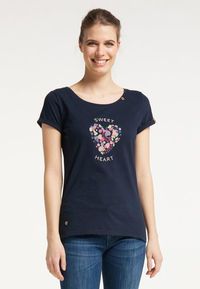 Print T-shirt - navy uni