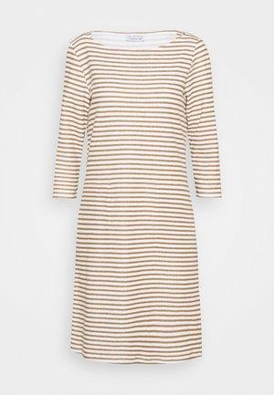 STRIPED DRESS - Jersey dress - tobacco