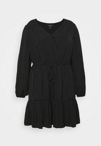COLETTE SKATER WRAP DRESS - Day dress - black