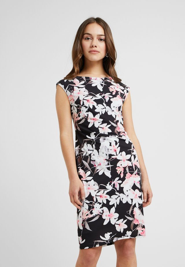 ORCHID RUCHE SIDE DRESS - Shift dress - black