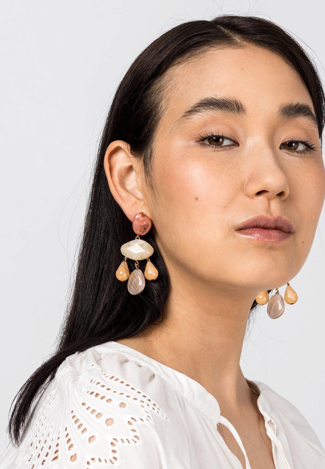 Damen with pastel colored stones - Ohrringe