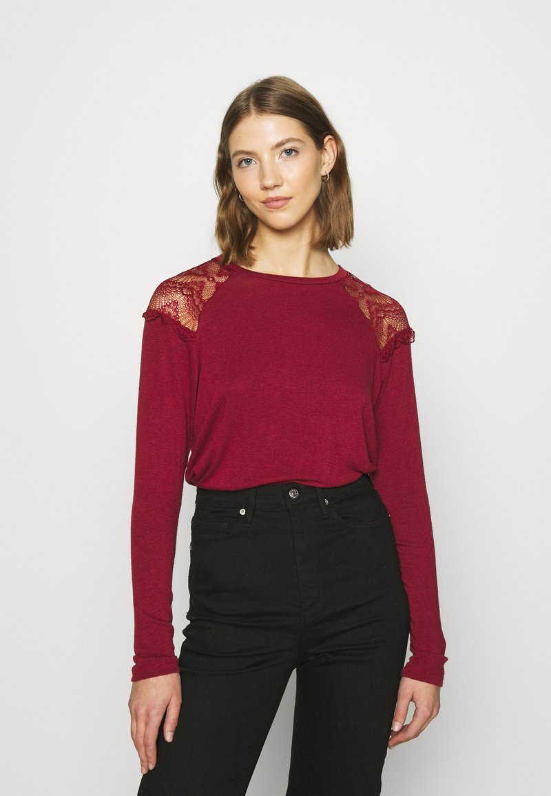 ONLY - ONLKIRA MIX - Long sleeved top - pomegranate