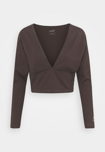 EXHALE V FRONT LONG SLEEVE - Long sleeved top - after dark
