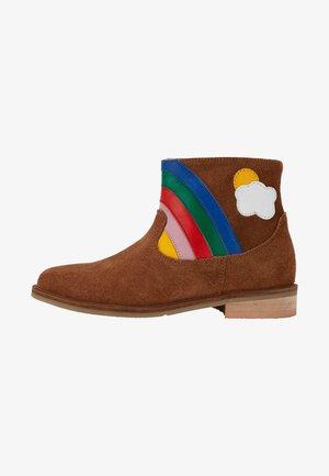 Cowboy/biker ankle boot - hellbraun, regenbogen
