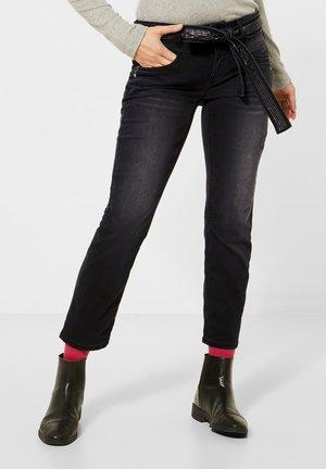 MIT GLITZER-GÜRTEL - Slim fit jeans - schwarz