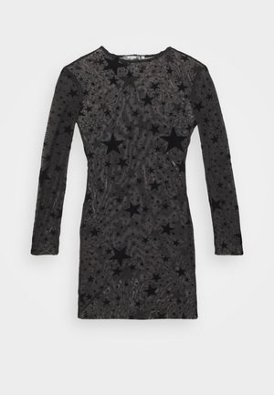 STAR FLOCKED DRESS - Denní šaty - black